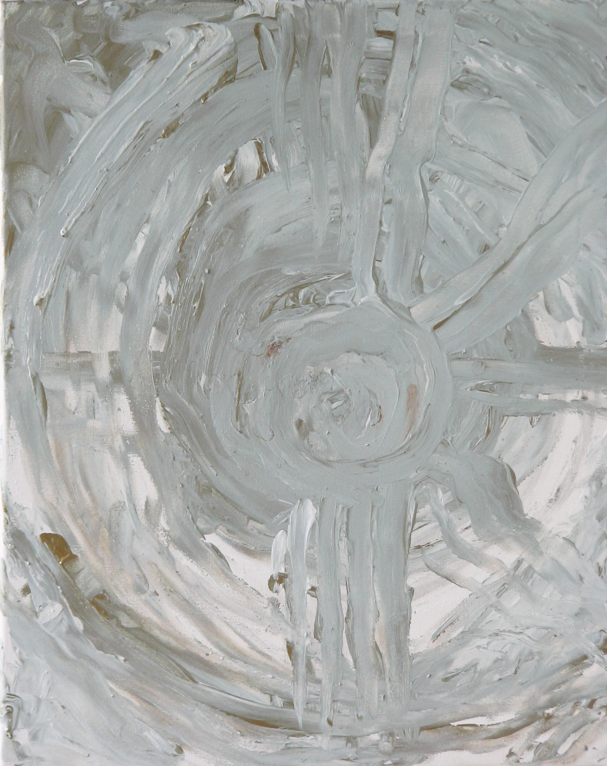 Dharma Wheel; acrylic and ash on canvas; 2017