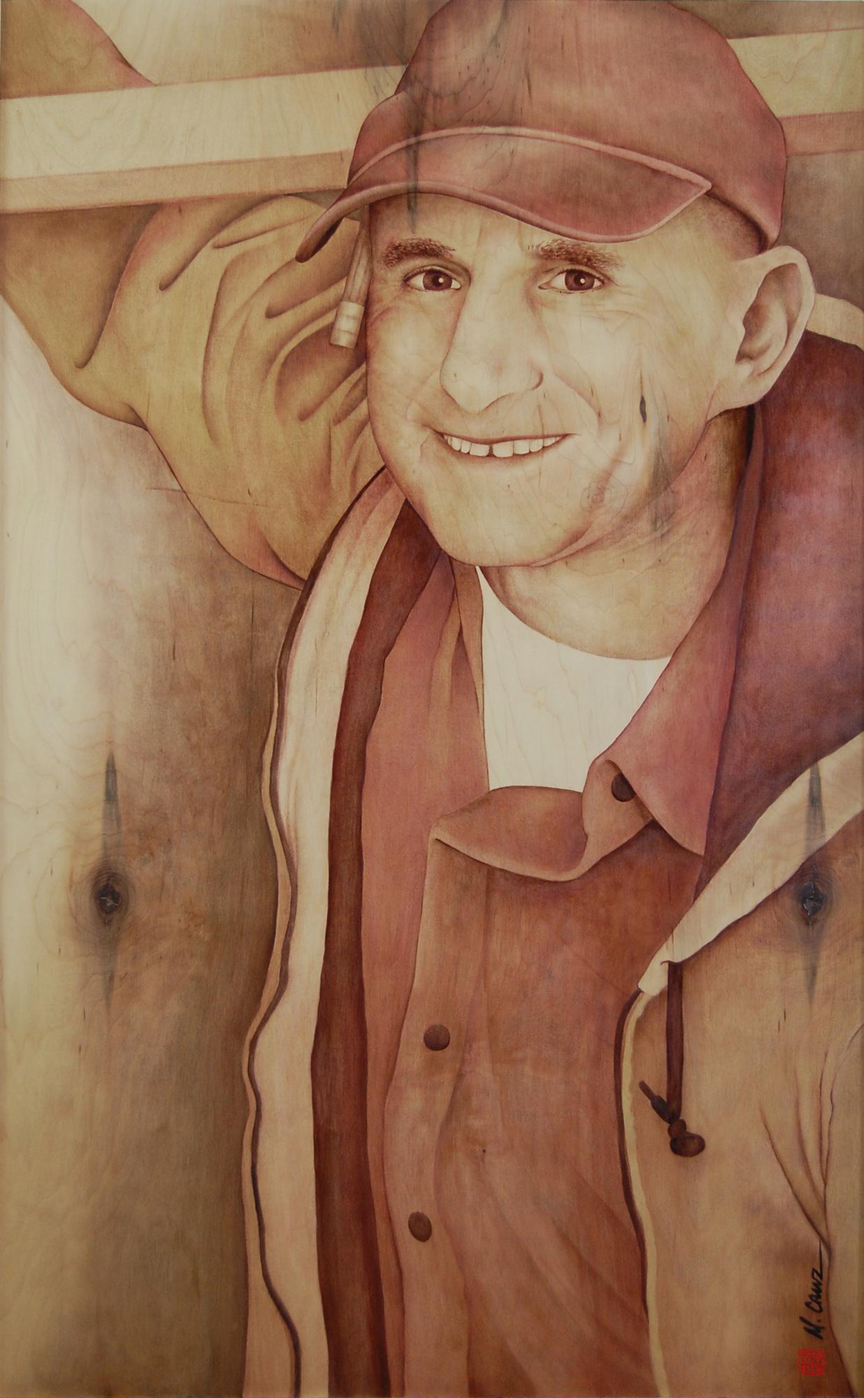 Gratitude; Wood stain on panel (maple); 2017
