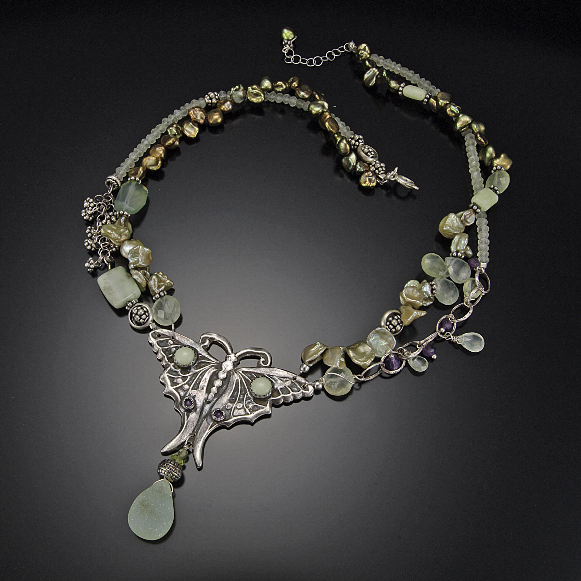 LUNA Moth Necklace; Fine Silver, Green Drusey, Prehnite, Peridot, Moonstone, Pearls, Amethyst; 2015
