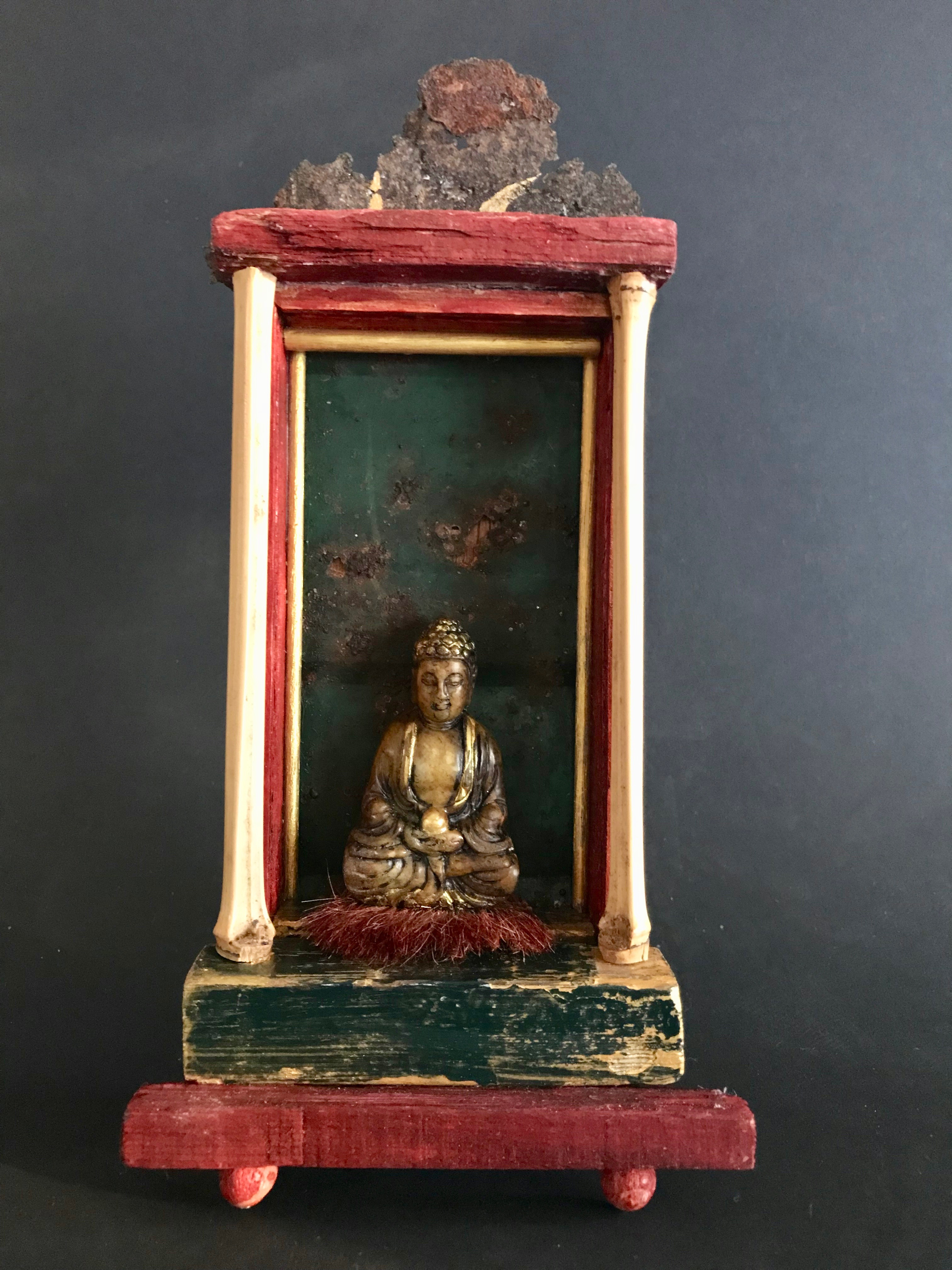 Medicine Buddha; wood, metal, jade, bamboo, red coral, bamboo brush, paint; 2018