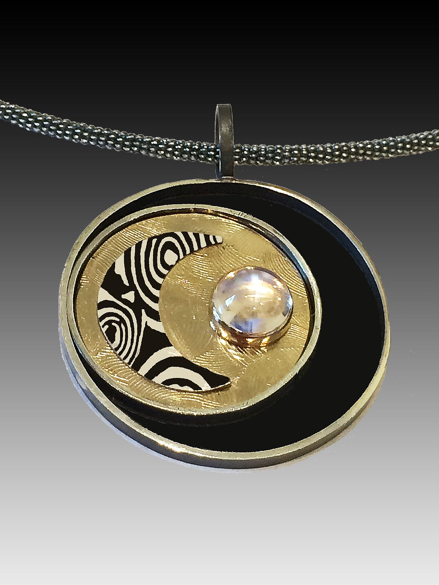 Moon & Star Pendant; Sterling Silver, 18K glod, Artist Made Mokume Gane & Moonstone
