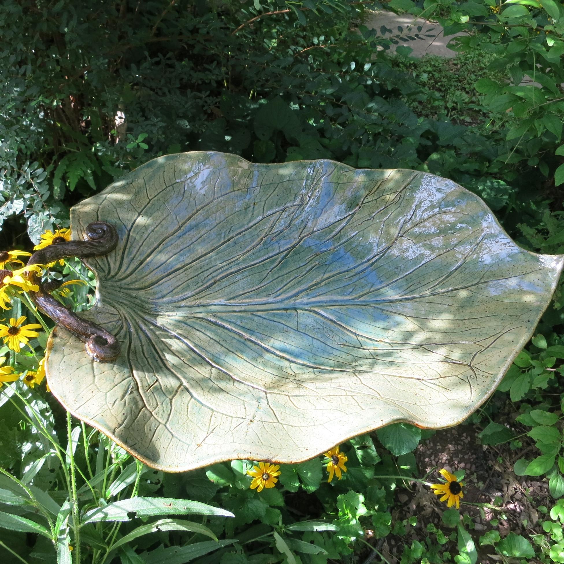 Skunk cabbage leaf birdbath; stoneware clay; 2017