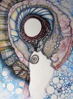 Bonnie A. Berkowitz Collar Neuro-Media series, hand drawn, colored pencils.