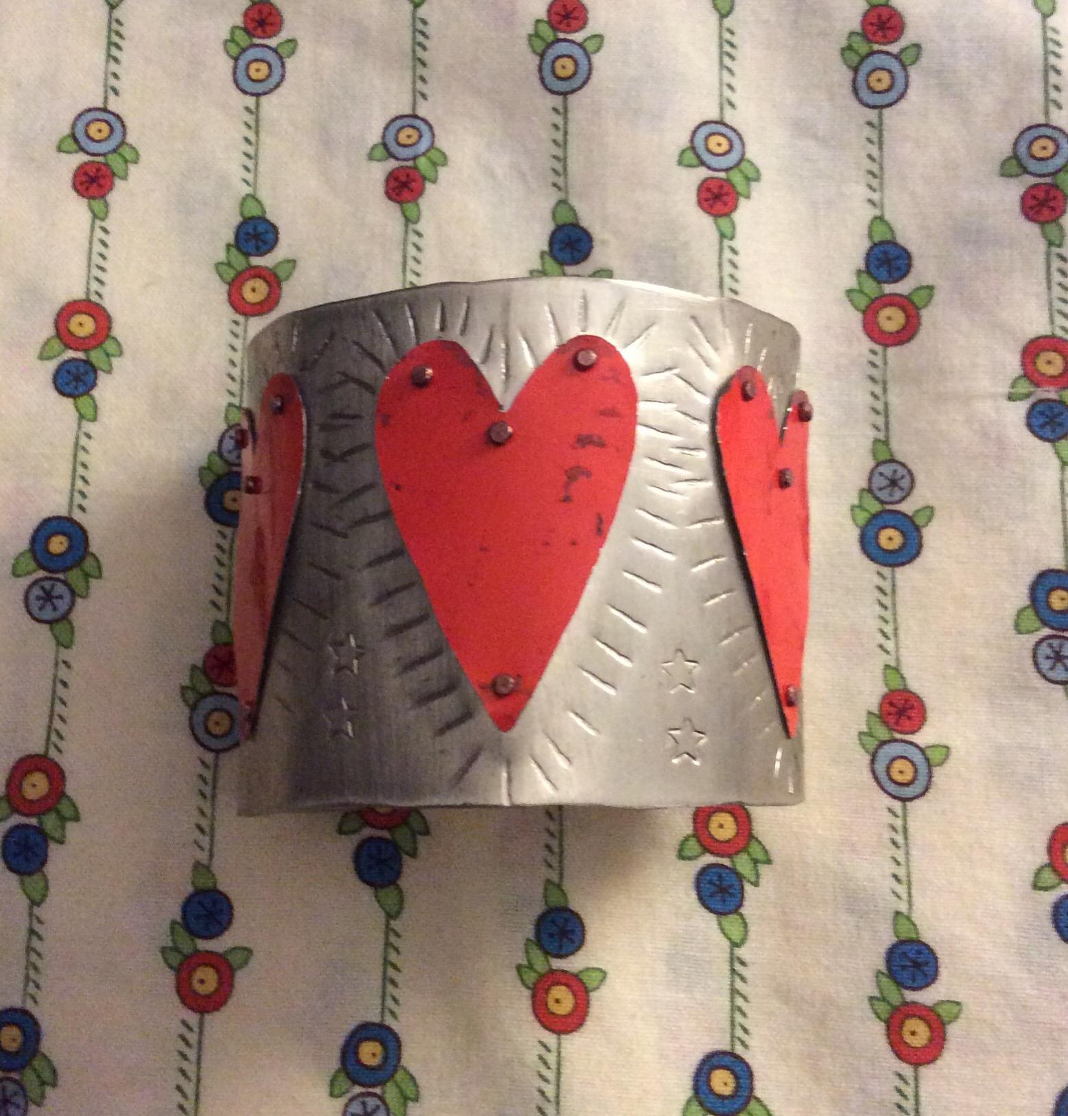 Christine Mundy • Heart Bracelet • Nickel, recycled tin • 2 x 2.5 Inches • Bracelet • 2018