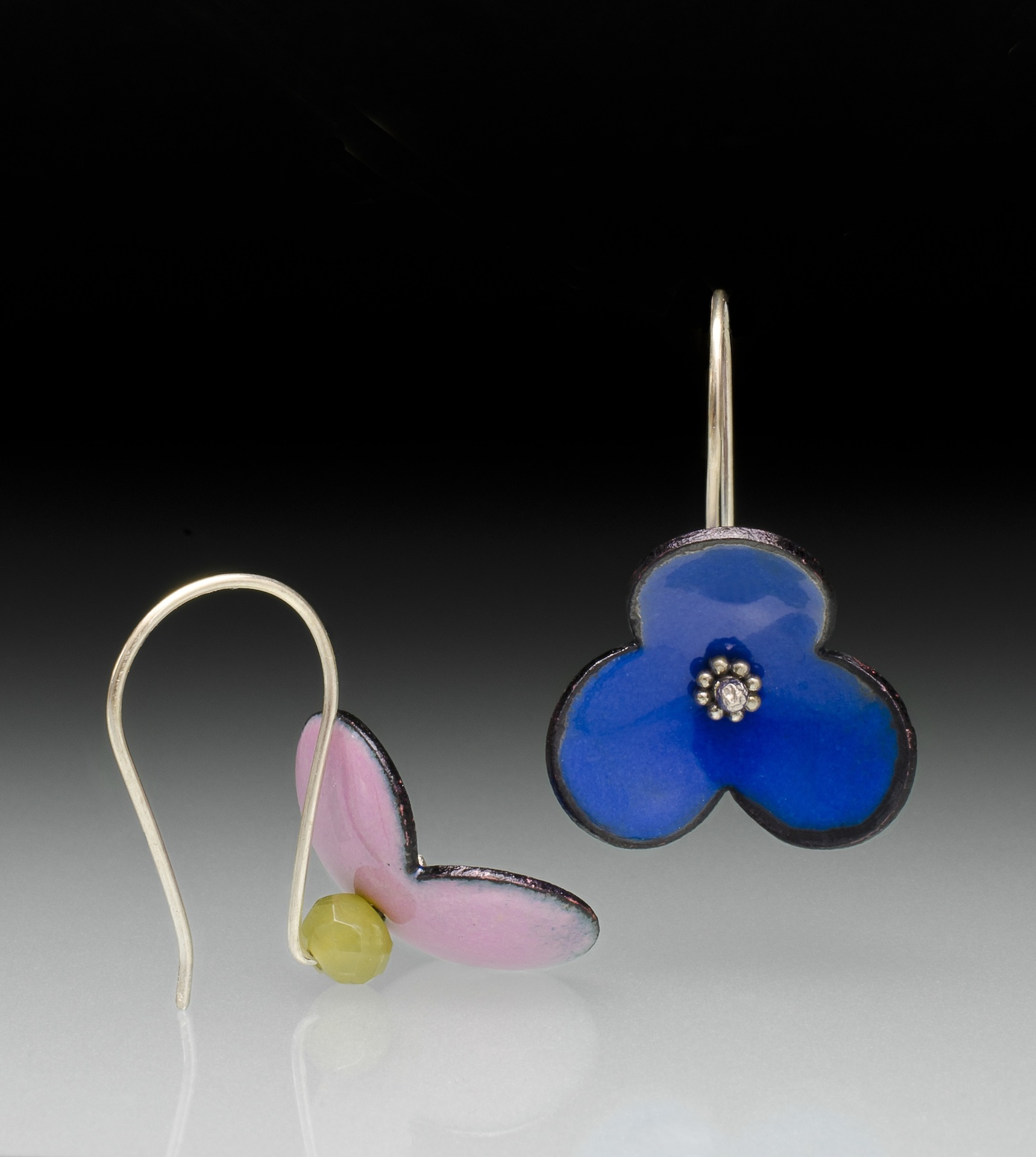 Inna Dzhanibekova • Flower Earrings • Silver, enamel, jade • 1.5 x 0.8 x 0.8 Inches • Enamel earrings with semi-precious stones. • 2018