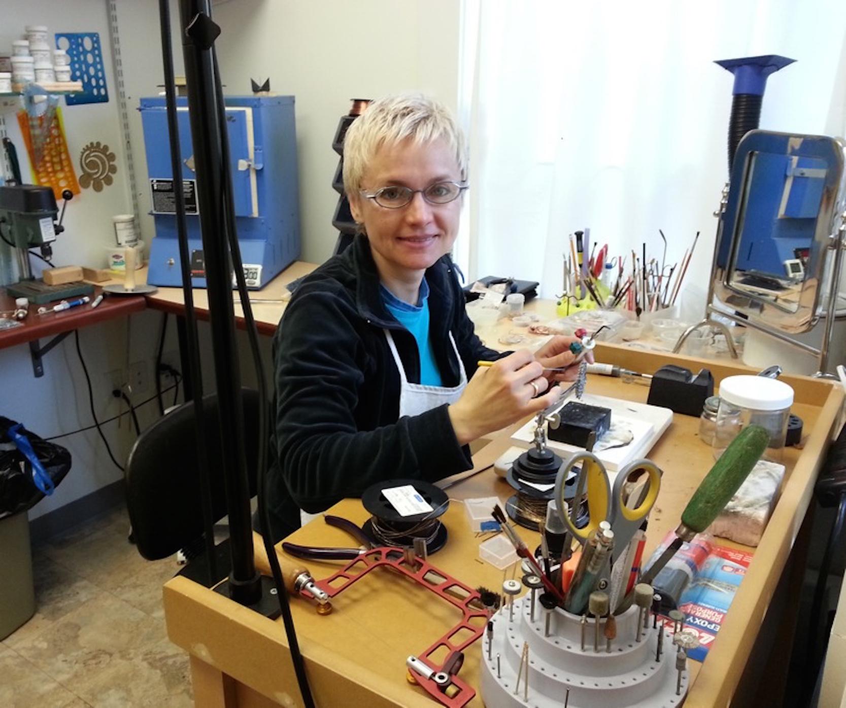 Inna Dzhanibekova • Inna working at Small Joys Studio. • 2016