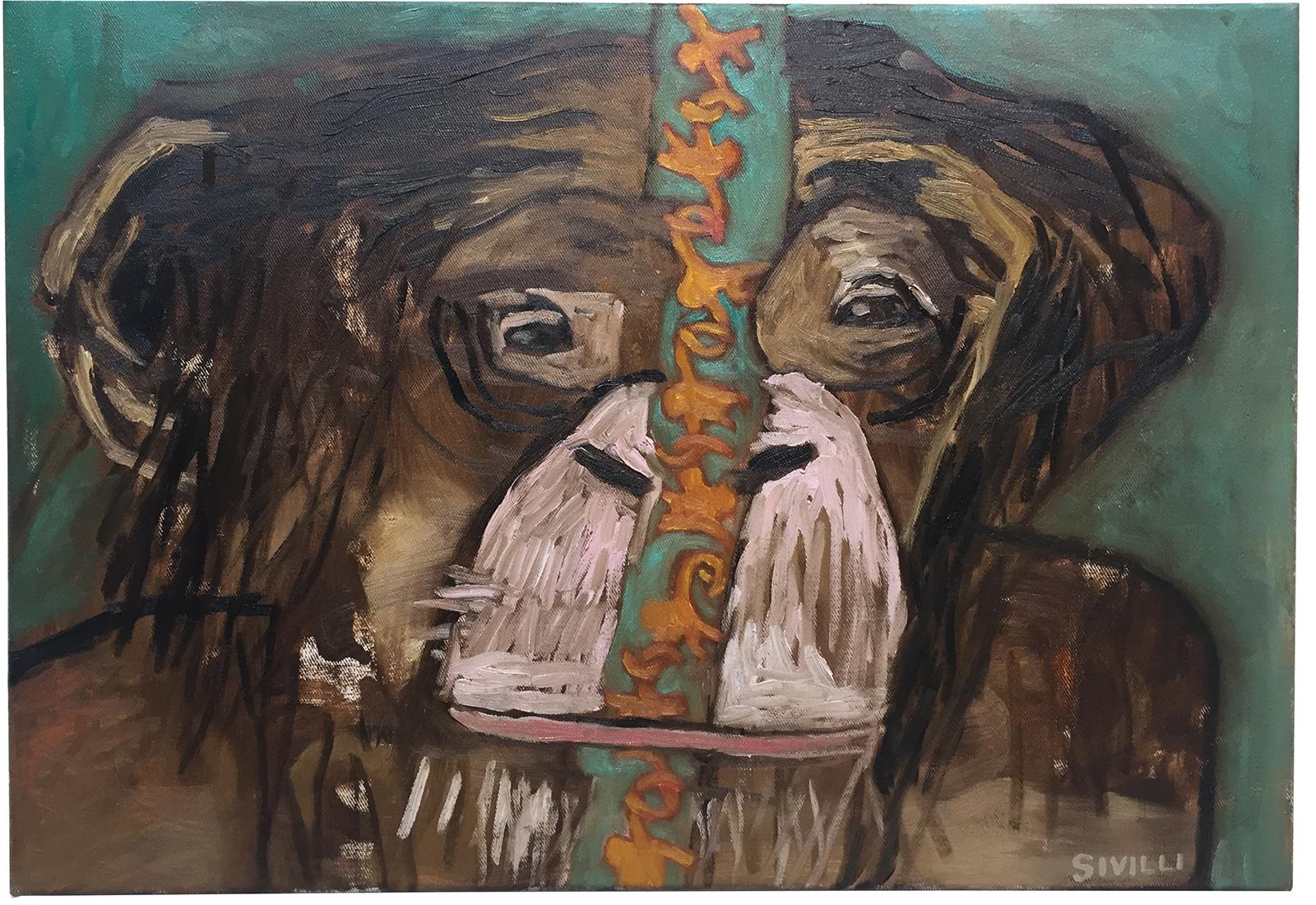 Val Sivilli • Chimp 4 • Oil on Canvas • 28 x 16 x 1 Inches • 2018