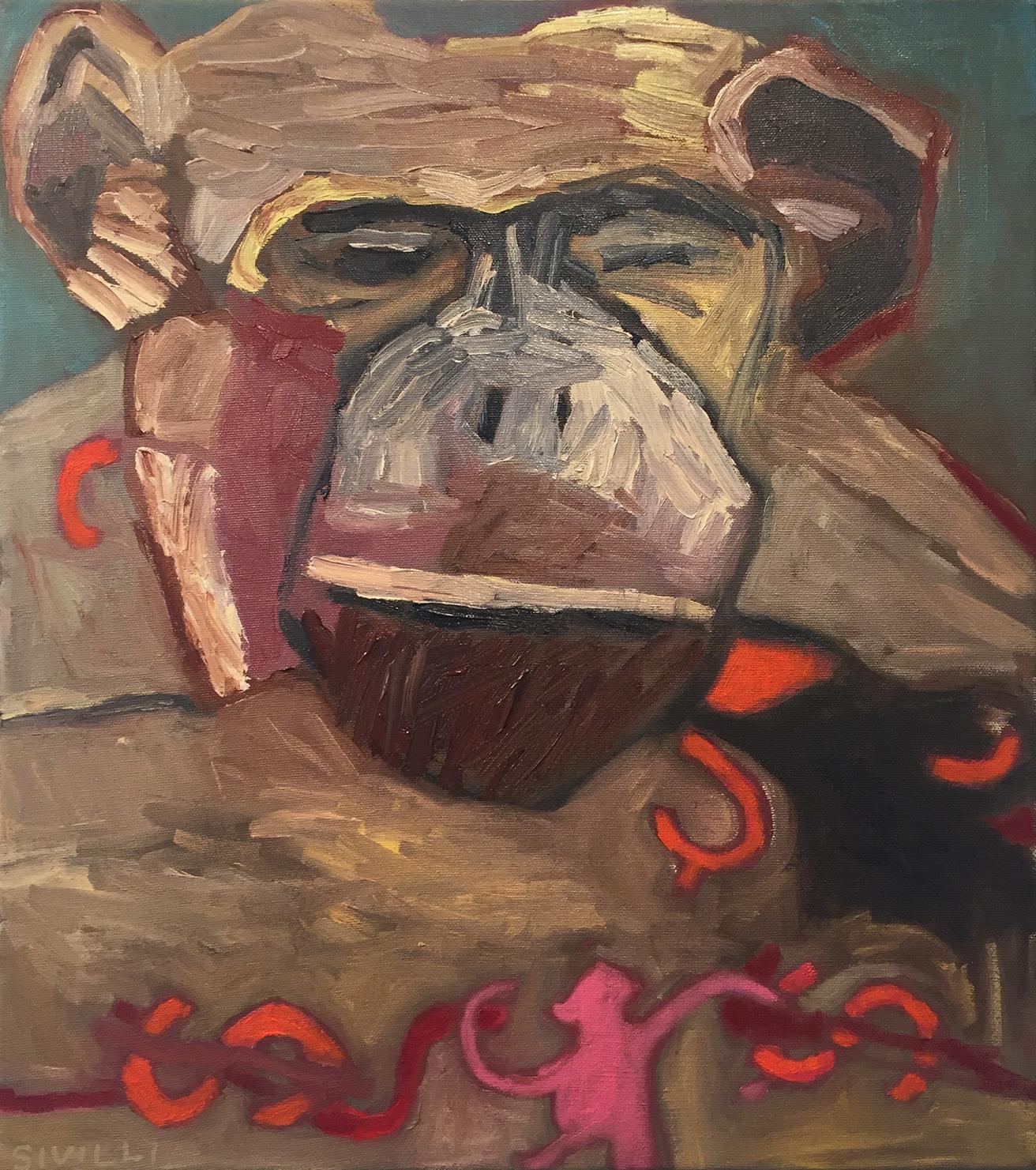 val-sivilli-•-chimp-5-•-oil-on-canvas-•-18-x-16-x-1-inches • 2018